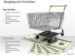0814 Shopping Cart On Multiple Dollars Image Graphics For Powerpoint