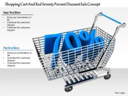 0814 Shopping Cart With Seventy Percent Value Of Discount Image Graphics For Powerpoint