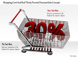 0814 Shopping Cart With Thirty Percent Value Of Discount Image Graphics For Powerpoint