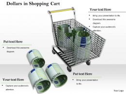 0814 Shopping Cart With Three Bundles Of Dollars Image Graphics For Powerpoint