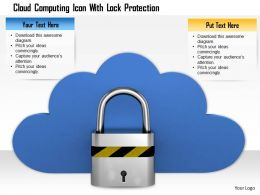 0814 Silver Lock Infront Of Blue Cloud Shows Cloud Computing Image Graphics For PowerPoint