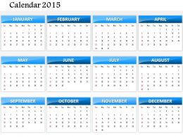 0814 Simple Elegant Complete 2015 Calendar Template And Powerpoint Slides For Planning