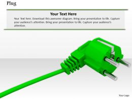 0814 Single Green Plug For Technology And Electronics Image Graphics For Powerpoint