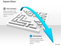 0814 Square Maze Blue Arrow Showing Growth And Achievements Image Graphics For Powerpoint