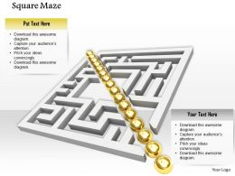 0814 Square Maze Golden Balls Arranged Diagonally Graphic Image Graphics For Powerpoint