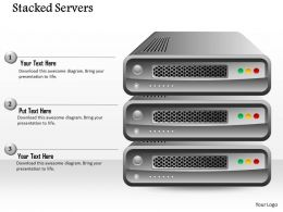 0814 Stacked Servers With Red Green And Red Button To Show Any Concept Ppt Slides
