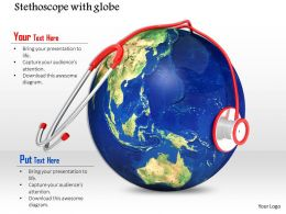 0814 Stethoscope On Globe For Medical Image Graphics For Powerpoint