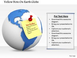 0814 Stick On Note For Global Communication Fixed Over A Globe Image Graphics For PowerPoint