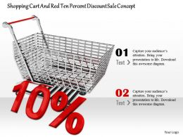 0814 Ten Percent Value Of Discount With Shopping Cart Image Graphics For Powerpoint