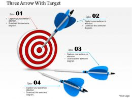 0814 Three Blue Arrows Approaching Towards Red Dart Target Diagram Image Graphics For Powerpoint