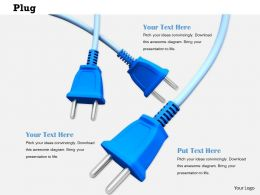 0814 Three Blue Electrical Plugs Image Graphics For Powerpoint