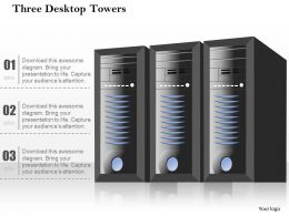 0814 Three Desktop Towers Standing Side By Side With Blinky Lights Ppt Slides