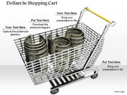 0814 Three Dollar Roles In Shopping Cart Image Graphics For Powerpoint