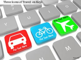 0814 Three Icons Of Travel On Keys In Keyboard Image Graphics For Powerpoint