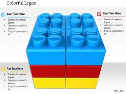 0814 Three Layered Square Shape Made By Blue Red And Yellow Lego Blocks Image Graphics For PowerPoint