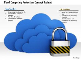 0814 Three Layers Of Blue Clouds With Lock Shows Safety On Cloud Computing Image Graphics For PowerPoint