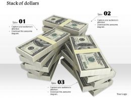 0814 Three Stacks Of Dollars For Finance Graphic Image Graphics For Powerpoint