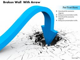 0814 Turned Blue Arrow Heading Inside The Crack Background Image Graphics For Powerpoint