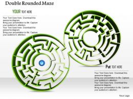 0814 Two Green Colored Rounded Maze For Problem Solving Image Graphics For Powerpoint