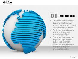 0814 Unique Blue Color Globe For Business And Sales Image Graphics For Powerpoint