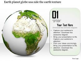 0814 Usa Side Globe With Earth Texture For Globalization Image Graphics For Powerpoint