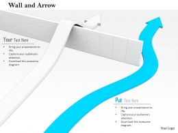 0814 White Arrow Jumping The Wall While Blue Arrow Is Passing By Shows Success Image Graphics For Powerpoint