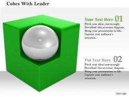 0814 White Ball On The Corner Of Green Cube Shows Leadership Image Graphics For PowerPoint