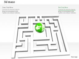 0814 White Maze Graphic With Green Ball In Center For Problem Solving Image Graphics For Powerpoint