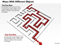 0814 White Maze With Red Arrow For Solution Path Image Graphics For Powerpoint