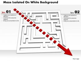 0814 White Maze With Red Dotted Arrow For Solution Display Image Graphics For Powerpoint