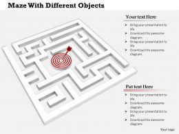 0814 White Maze With Target Dart And Arrow For Target Achievement Image Graphics For Powerpoint