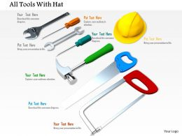 0814 Wrench Screwdriver Hammer With Handsaw And Protection Hat For Site Use Image Graphics For Powerpoint