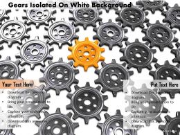 0814 Yellow Gear On Black Gears Background Shows Leadership Image Graphics For Powerpoint