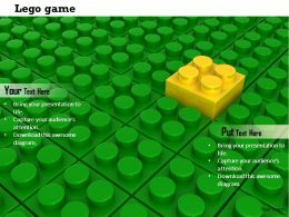 0814 Yellow Lego Block On Green Lego Background Showing Leadership Image Graphics For PowerPoint