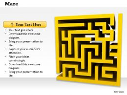 0814 Yellow Maze On White Background For Problem Solving Image Graphics For Powerpoint