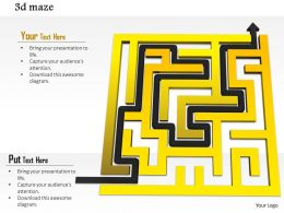 0814 Yellow Maze With Black Arrow Highlighting The Solution Path Image Graphics For Powerpoint