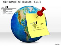 0814 Yellow Stock On Note Fixed Over Globe Shows Global Communication Image Graphics For PowerPoint