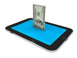 0914 100 Dollar Bill In Tablet Pc Stock Photo