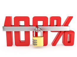 0914 100 Percent Symbol With Combination Lock Stock Photo