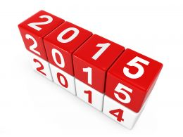 0914 2015 On Red Color Cubes For New Year Stock Photo
