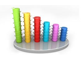 0914 3d Bar Graph Showing Rise In Profits Stock Photo