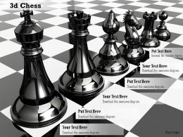 0914 3d Chess Black Glossy Pawns Image Graphics For PowerPoint
