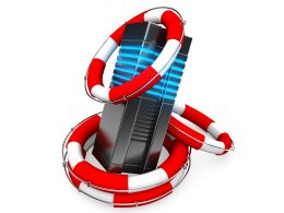 0914 3d Computer Server With Red Lifesavers Stock Photo