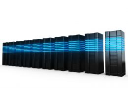 0914 3d Computer Servers Over White Background Stock Photo