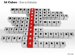 0914 3d Cubes Business Management Text Image Graphics For PowerPoint