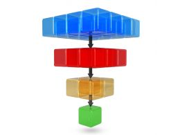 0914 3d Cubes For Sales Funnel Process Stock Photo