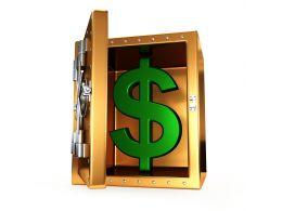 0914 3d Green Dollar Symbol Inside The Safe Stock Photo