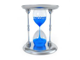 0914 3d Hour Glass With Income Word And Sand Inside Stock Photo