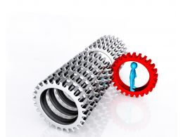 0914 3d Man On Red Gear Among Silver Gears Leadership Strategies Stock Photo