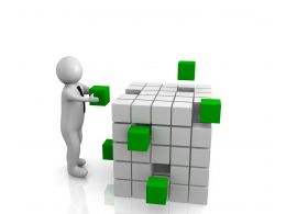 0914 3d Man Person With Cubes Teamwork Management Image Stock Photo
